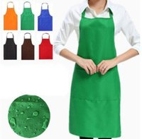 Wholesale 2018 Solid Color Apron For Kitchen Clean Accessory Household Adult Cooking Baking Aprons DIY Printing Practical Tools Many Colors