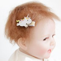 Wholesale beautiful unicorn - Unicorn Girls Hair Clips Kids Hairpins Barrettes Kids Hair Accessories Beautiful Hair