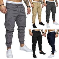 Wholesale pleated pants style - Designer Mens Clothing Cargo Pants Pocket Safari Style Casual Elastic Waist Hip Hop Sweatpants Joggers New 2018 Streetwear Trousers