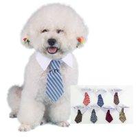 collar del gato corbata de lazo al por mayor-Nuevo perro de mascota rayado corbata collar gato arco lindo perro corbata boda perrito ajustable rojo / azul / caqui envío gratis p99