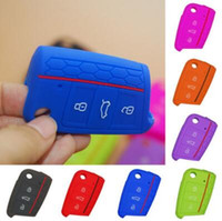 Wholesale vw silicone case - Silicone Car Key Cover Case for VW Volkswagen Golf 7 mk7 Skoda Octavia A7 New Polo Key Protect Bag Auto Accessories CCA10151 200pcs