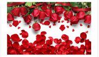 rote silk blütenblätter großhandel-Benutzerdefinierte 3d Fototapeten Original schöne romantische Liebe rote Rose Blütenblätter TV Hintergrund Wand Home Decor Wohnzimmer Wandverkleidung