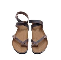 Wholesale cork adhesive - New Fashion Womens Fashion Cork Sandals Casual Summer Gladiator Buckle Strap Shoes Flat Flip-flops Thongs Slingback 7N0262