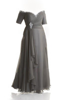 Wholesale Plus Size Ankle Length Dresses - Custom Made Plus Size Dresses Evening Wear Bead Sequins Off-Shoulder Ruched Gray Chiffon Prom Dress Mother Of The Bride Gowns Ankle