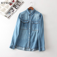 0928c74be7f KYQIAO vintage design denim shirt women autumn winter Spain style hippie fashion  long sleeve blue denim blouse blusa