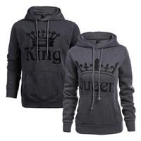 Wholesale Women S Sweaters Hoods - Explosions Women KING QUEEN letters printed hooded fleece long-sleeved hood lovers baseball clothing sweater