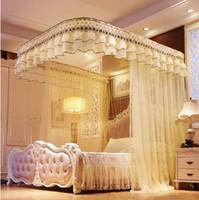 böcek gölgelik toptan satış-Dantel MOSQUITO NET Ekstra Büyük Ikiz Kraliçe ve Kral Yatak için Yatak Canopy Hızlı ve Kolay Kurulum için Böcek Fly Koruyun