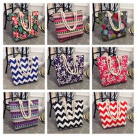 Wholesale Stripe Canvas Tote Beach Bags - Summer Fashion Beach Totes Canvas Casual Casual Tote Large Capacity Shoulder Bag Bohemian Style Women Ladies Print Floral Shopping Handbag