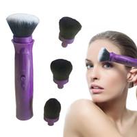 pinceau de maquillage vison achat en gros de-360 Degrés Électrique Maquillage Brosses Avec 4 Têtes Poudre De Vison Cheveux Maquillage Brosse Outil Beauté Maquillage Outil Brosses Set C18111401