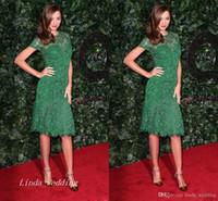 Wholesale miranda kerr dresses for sale - Group buy Green Miranda Kerr Evening Dress New Lace Knee Length Short Formal Party Gown Celeybrity Dress