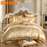 ingrosso giallo set di quilt re-Svetanya Geometric Jacquard Bedding Sets Giallo Biancheria da letto Queen King Size Lenzuola Federa Quilt Covet Set