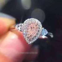 bague en argent pierre rose achat en gros de-Bijoux de mode Marque Design Bijoux Poire coupée 2ct 5A Zircon Pierre Rose Cz bague de mariage pour les femmes Bague en argent sterling 925