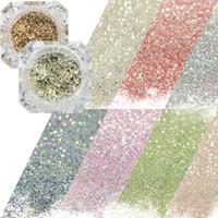 polvo de mezcla de oro al por mayor-0.2g Brillante Diamond Platinum Nail Art Glier Chrome Polvo Decoraciones DIY Charm Flakes Mix Gold / Silver / Blue Pigment CHBG01-26