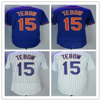 Wholesale free tim - Men's New York Hot #15 Tim Tebow Jerseys All Stitched Embroidery Baseball Jersey M-XXXL Fast Free Shipping