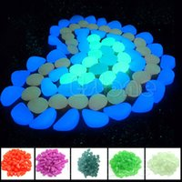 ingrosso pietre per giardini-Ornamenti da giardino 100pcs Glow In The Dark Ciottoli luminosi Stones Fish Tank Aquarium Party Event Supplies Decor