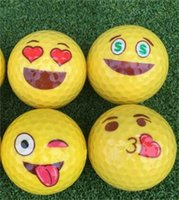 Wholesale funny golf gifts for sale - Golf Ball Emoji Funny Cute Accessory Gift Rubber Surlyn