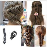 gancho mágico al por mayor-Señora de las mujeres francés trenzado del pelo Braider Roller Hook With Magic Hair Twist Styling Bun fabricante de la venda del pelo accesorios