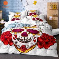 skull bedding achat en gros de-3pcs bande dessinée halloween fleurs crâne housse de couette taie d'oreiller literie blanche housse de couette molle confortable reine taille sj129