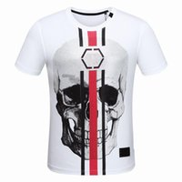 Wholesale teenagers shorts - 2018 Newest Fashion Summer T Shirt Skulls Printing Cotton T-shirt Casual Men Short Sleeve O-Neck Tees Teenager Hot Tops D30
