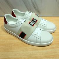 erkekler için kahverengi ayakkabı toptan satış-Yeni lüks erkek kadın ace sneaker kahverengi elastikiyet çizgili en kaliteli kutusu ile lüks tasarımcı koşu ayakkabıları siyah boyutu 34-46