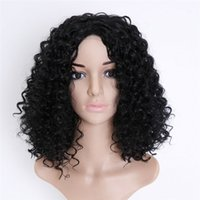 Wholesale Mascot Human - Fashion Lady Short Curls Curly Synthetic Wig Afro Kinky Curly Wig Simulation Human Hair Kinky Curly Full Wigs mascot