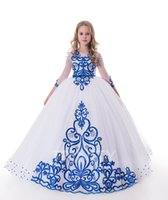 ingrosso vestiti di scena di bellezza delle ragazze bianche-Beauty WhiteRoyal Blue Tulle Ricamo Flower Girl Abiti Girls Pageant Dresses Festività / Compleanno / Gonna Custom Size 2-14 DF711365