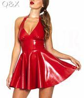 Wholesale Ball Erotic - Wholesale- XX48 Sexy PVC Leather Latex Dress Red Shiny 2017 Halter Sleeveless Catsuit Erotic Bondage Pleated Dress Clubwear Costume S-XXL