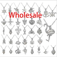 Wholesale New Arrive Silver Pearl Cage Jewelry Locket Pendant Findings Cage Essential Oil Diffuser Locket For Oyster Pearl Women