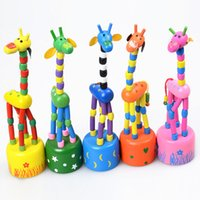 Wholesale wooden giraffe toys online - Baby Wooden Rock Giraffe Toy Standing Dancing Hand Doll cm Tall Animal Toy Kid V15032304