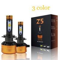 Wholesale H4 Color - Z5 Car TriColor 3 Color LED Headlight H1 H4 H7 H11 HB3 HB4 50W 5800LM Flip Chips 3000K 4300K 6000K Switchback LED Bulbs