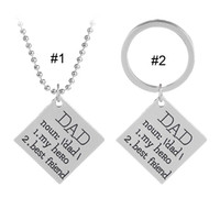 Wholesale Wholesales Best Friends Necklaces - DAD My Hero Best Friend Necklace Key chain Letter Pendant Rings Family Love Fashion Jewelry Gift for Women Men BY DHL drop shipping 162592