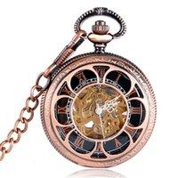 içi boş saatler kendinden sargı toptan satış-Şık Gül Altın Hollow Çiçek Mekanik Pocket saat Kolye Romen Rakamları Dial Otomatik Self-Rüzgar Hediyeler Erkekler Kadınlar MP003