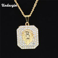 Wholesale Golden Crown Necklace - Uodesign Golden Lion Head Crown King pendants necklaces Men Women Hip Hop Charm Franco Chain Iced Out bling rock Jewelry Gift