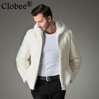 Wholesale mink fur coat hood - 2017 new men faux mink coat Luxury thicken warm faux fur men's solid overcoats jackets Oversized loose coats with hood WR669