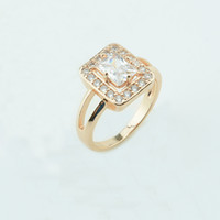 Wholesale 585 Ring - whole saleFJ 3 Color 13mm Wide Chic Women White Pink Blue Stone 585 Rose Gold Color Cubic Zircon Square Rings