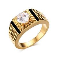 ingrosso anello di onice 18k oro nero-New Fashion Jewelry 18k Anelli d'oro per gli uomini Black Onyx Diamond Engagement Wedding Men Ring Size 6-11