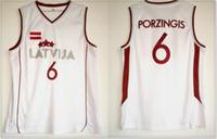 Wholesale custom college shirts - New Latvia #6 Kristaps Porzingis College Mens Basketball Team Jerseys Pro Sports Uniforms Shirts Vest Custom Stitched Embroidery Sz S-XXXL