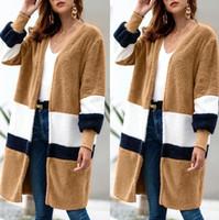 Wholesale girls sweaters jackets for sale - Group buy Women Plush Sweater Cardigan Girls Mid length Sweater Coat Casual Long Warm Wool Jackets Overcoat Splice Outwear OOA5960