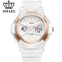 relógios femininos venda por atacado-Smael assista mulheres marca de moda casual relógios de quartzo pu esporte lady dress digital relógio de pulso menina relógio duplo display relógios de pulso