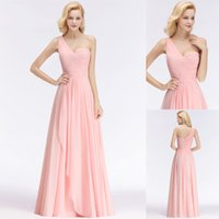 Wholesale one shouldered long bridesmaid dresses for sale - Group buy Newest Pink Bridesmaid Dresses One Shoulder Chiffon Tiered Skirts Custom Made Formal Occasion Wear Wedding Guest Dress BM0045