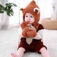 Wholesale models scarf hat for sale - Group buy Baby Pieces Sets Knitted Hats Golves Scarf Thicken Soft Plain Weave Warm Wool Plush Cartoon Model All match Suits Boys Girls Outdoor