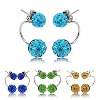 Wholesale n 925 - 9 Colors Double sided Sh-am-ba-la Ball Stud Earrings Diamond Crystal disco beads Earings 925 Silver plated F-i-n-e Jewelry for women girls