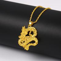 oro chino lleno al por mayor-Dragón modelado mujeres colgante de cadena de 18 quilates de oro amarillo lleno de estilo chino clásico Uniisex Charm Necklace colgante
