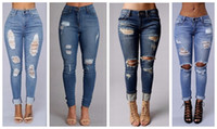 Wholesale maxi pants - women's fashion sexy high waist pencil jeans casual blue ripped denim pants lady long skinny slim maxi jeans trousers