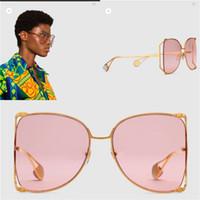 ingrosso grande decorativo-New fashion designer occhiali da sole 0252 grande cornice rotonda in metallo cavità telaio di alta qualità luce colorata occhiali da sole stile popolare
