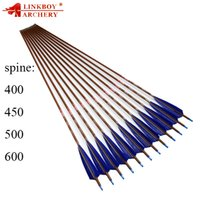Wholesale archery wood for sale - Group buy Linkboy Archery pure carbon Arrows wood skin inch dark blue turkey feather bohning nock gr tips for compound bow hunting shooting