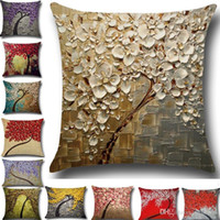 Discount linen flower cushion case - Tree Of Life Flower Pillow Case Cushion Cover Linen Cotton Throw 3D Sofa Bed Pillow Covers Christams Home Decorative HH7-1281