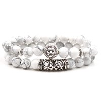 ingrosso fascino d'argento del leone-Natural Stone Bead Bracelet Set Pack For Men Donna 2 pezzi Antique Silver Plated Leopard Owl Lion Head Charm Bracciale in pietra turchese bianco