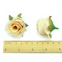 Wholesale ball heads resale online - 100Pcs Artificial Rose Silk Flower Head Scrapbooking Flowers Ball for Wedding Decoration Scrapbooking Fake Flower Home Accessories