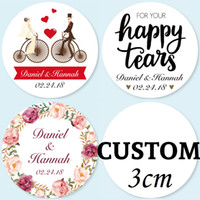 Wholesale 3CM Pieces Customized Personalized Wedding Stickers Logos Candy Favor Boxes Tags Cupcake Bottle Labels Invitations Seals